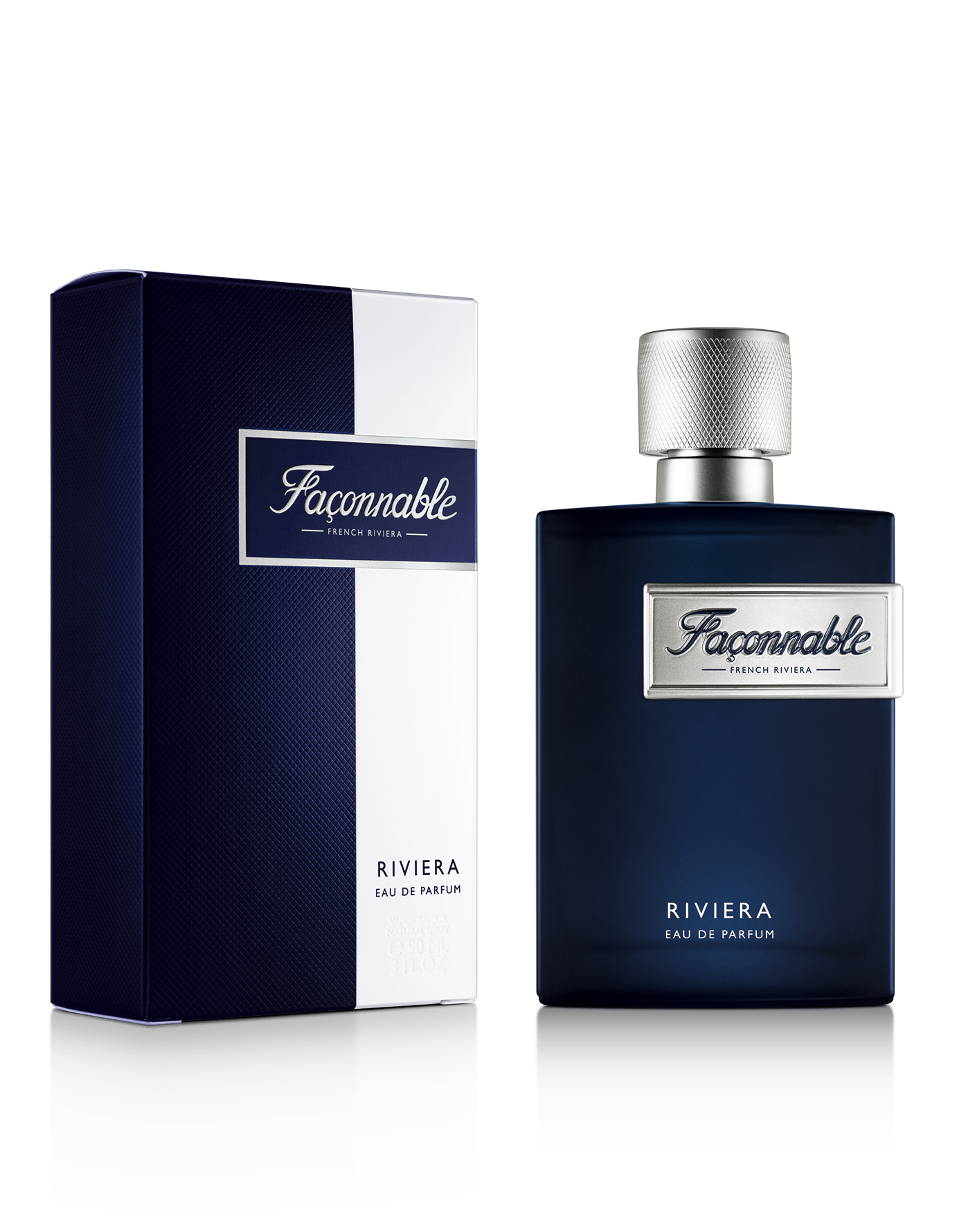 FACONNABLE RIVIERA 90 ML LEFT PROFILE PACK FACING BOTTLE